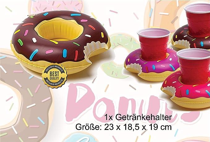 XXL Buñuelo Flotator mordido inflable con Hinchable Donut de Fresa mordida Anillo flotante Colchón de aire flotante Cojín flotante para piscina, ...
