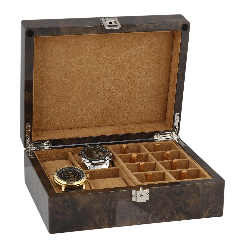 Armbanduhr und ManschettenknÖpfe Sammler Box 16 Paar ManschettenknÖpfe + 4 Handgelenk Uhren im Licht Wurzelholz