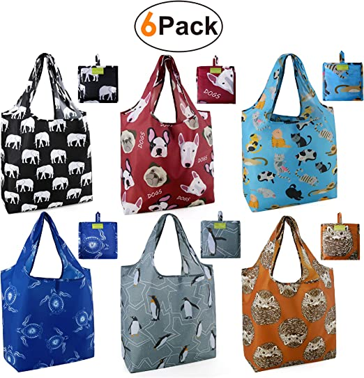 Grocery Bags Reusable Foldable 6 Pack Shopping Bags Large 50LBS Cute Groceries Bags with Pouch Bulk Ripstop Waterproof Machine Washable Eco-Friendly ...