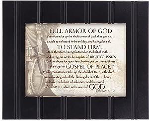 Cottage Garden Full Armor of God Ephesians 6:13-17 8x10 Black Framed Art Wall Plaque Sign