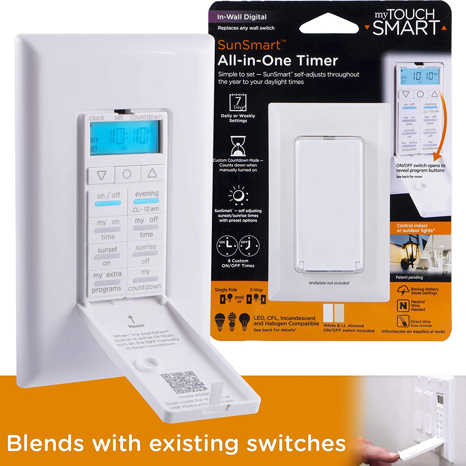myTouchSmart LE One in-Wall Digital Timer, Push Door Switch, Backlit LED Screen, Times, Countdown Mode, Daily/Weekly Set, 8, 8 Custom On/Off & Countdown