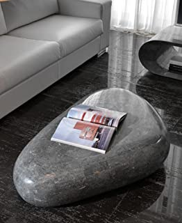 Stones Round 1 Tavolino Fossile Gray Stone 85x85x28 cm Grigio