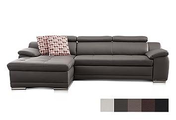Cavadore Ecksofa Aniamo mit XL-Longchair links / Eckcouch in Lederoptik mit  Kopfteilfunktion im modernen Design / Sitzecke für Wohnzimmer in ...