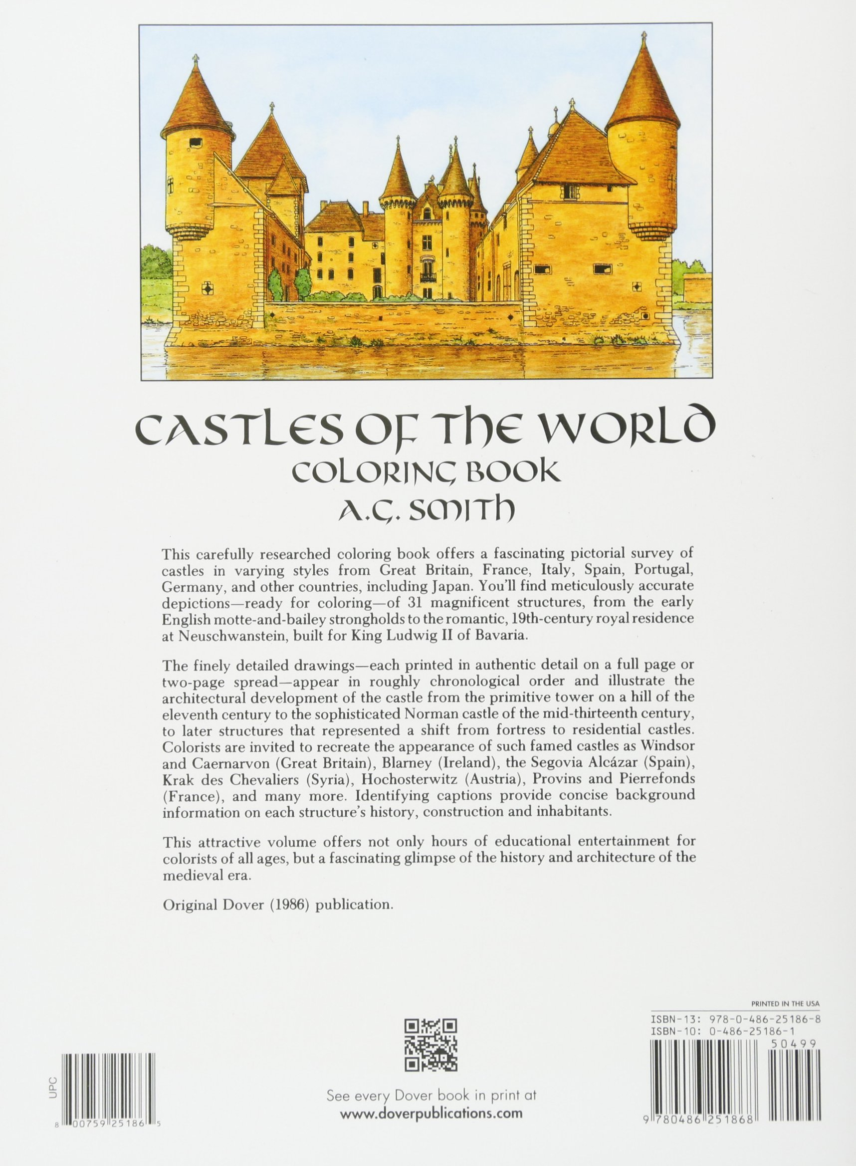 castles of the world coloring book dover history coloring book