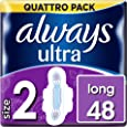 Always Always Ultra Long (Size 2) Sanitary Towels With Wings 48 Pads Super Absorbent, Neutralises Odours, Ultra Thin x