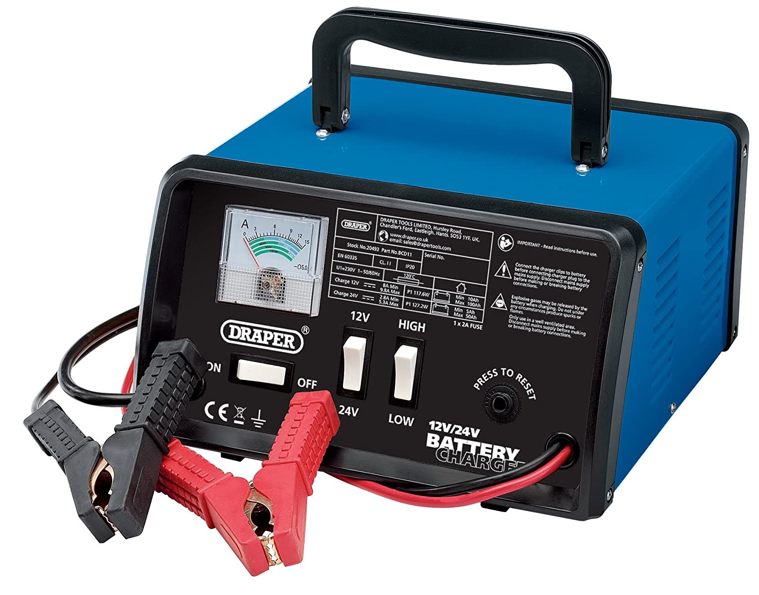 Draper BCD11 10.3 A Battery Charger, 12/24 V Draper Tools