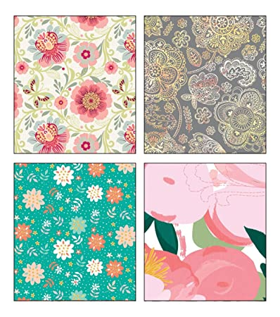 Premium Birthday Or All Occasion Gift Wrap Medium Weight Flower Artistic Designs In Gloss Finish