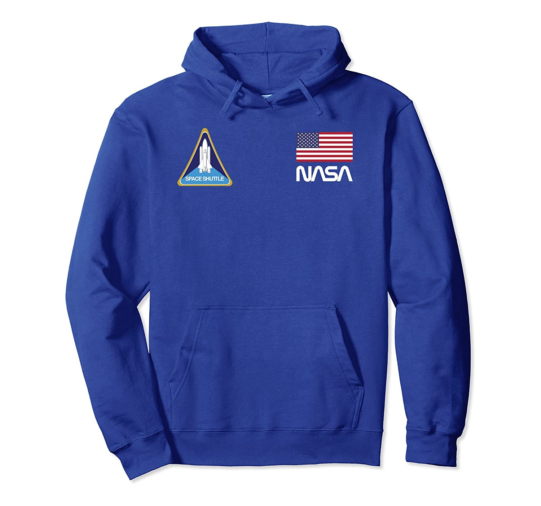 Retro NASA, Space Shuttle, USA Flag Logo Hooded Sweatshirt-TH