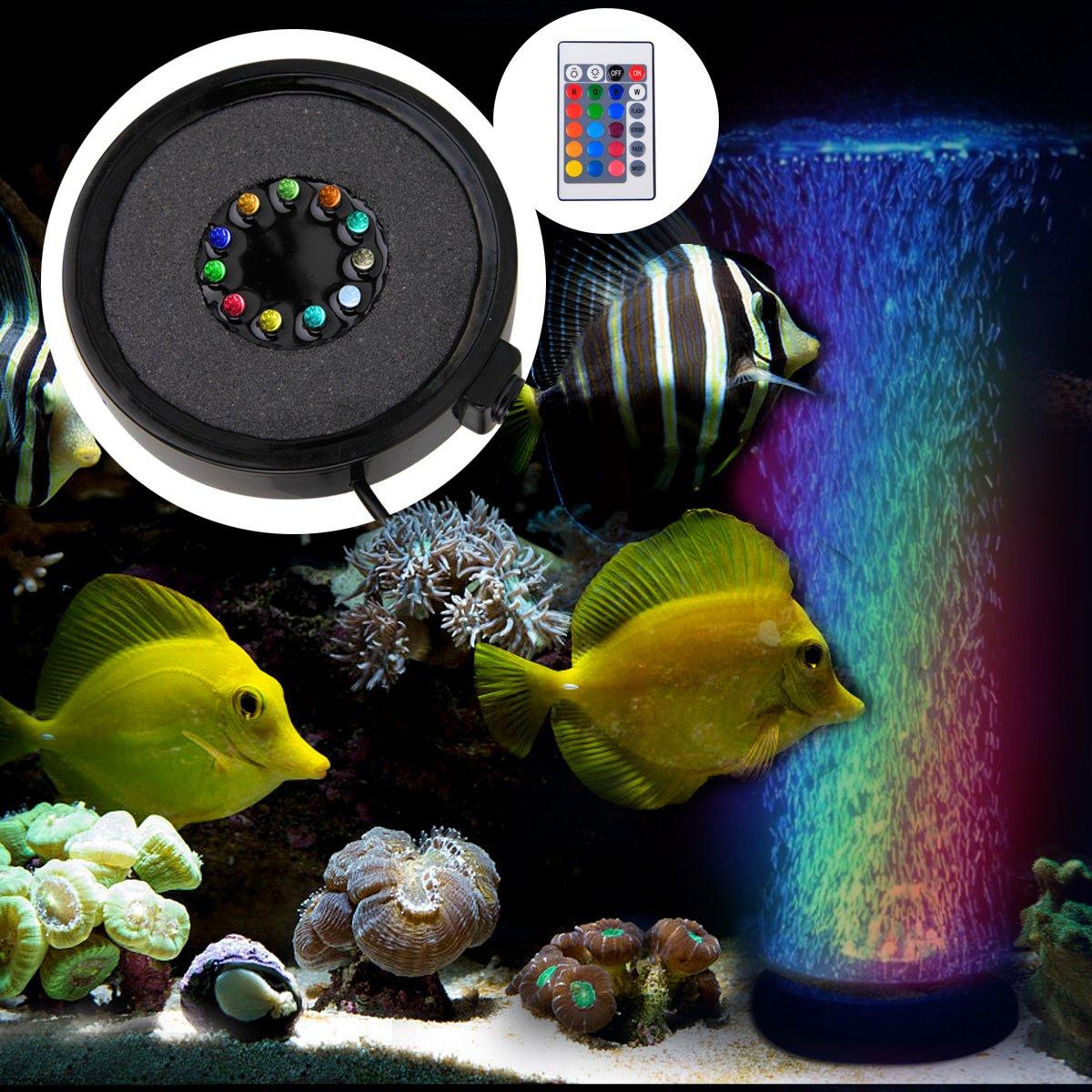 BAYTTER Acuario LED Iluminación Silenciar burbuja Luz RGB aufsetzl ...