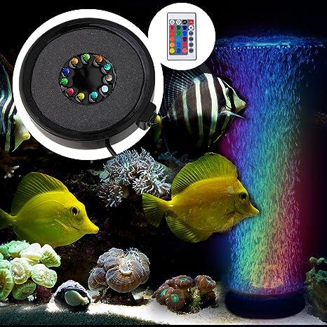 BAYTTER Acuario LED Iluminación Silenciar burbuja Luz RGB aufsetzl euchte Cambio de color con/sin
