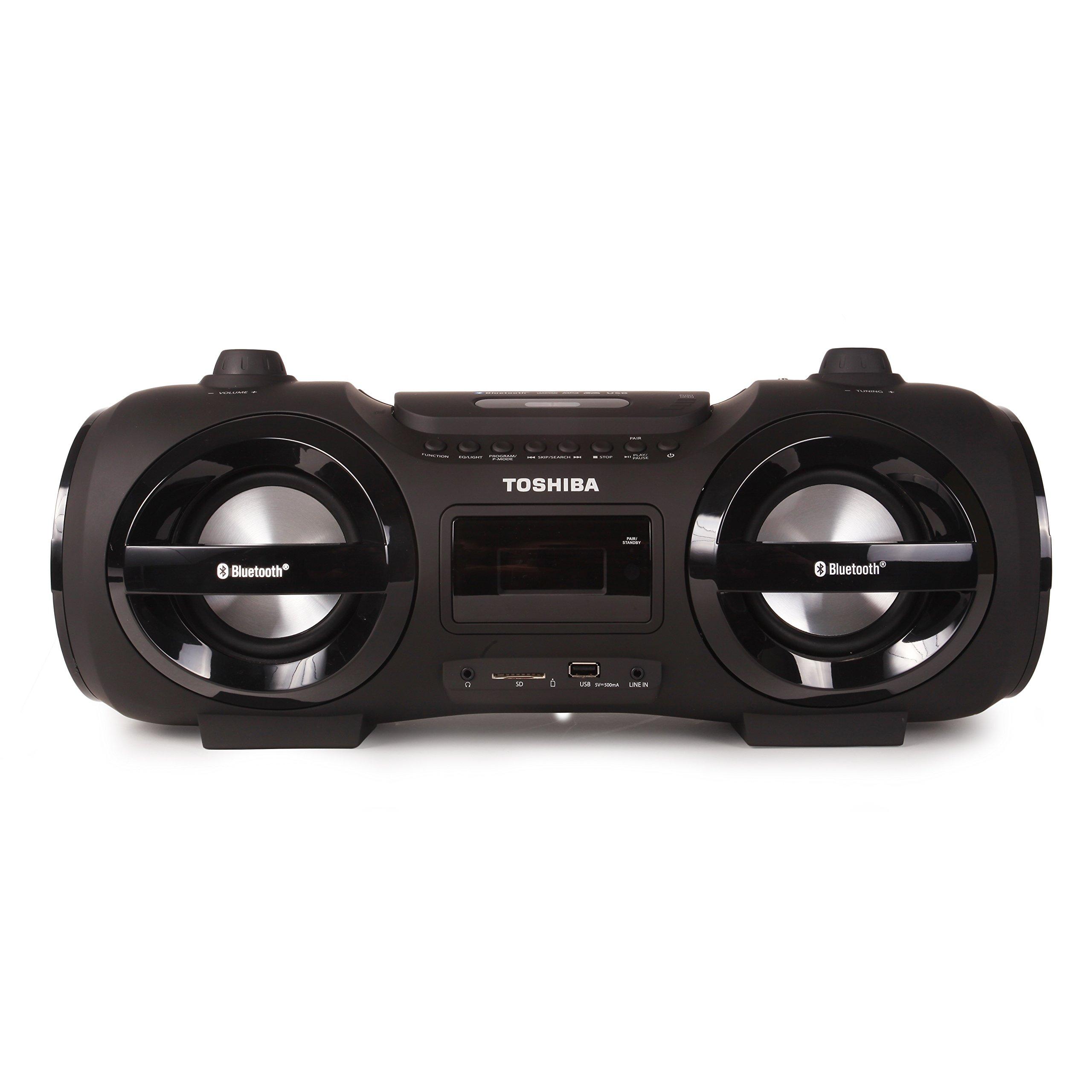 Toshiba Wireless Bluetooth Boombox Speaker: Portable CD Boom Box with FM Radio, Remote & LED Lights
