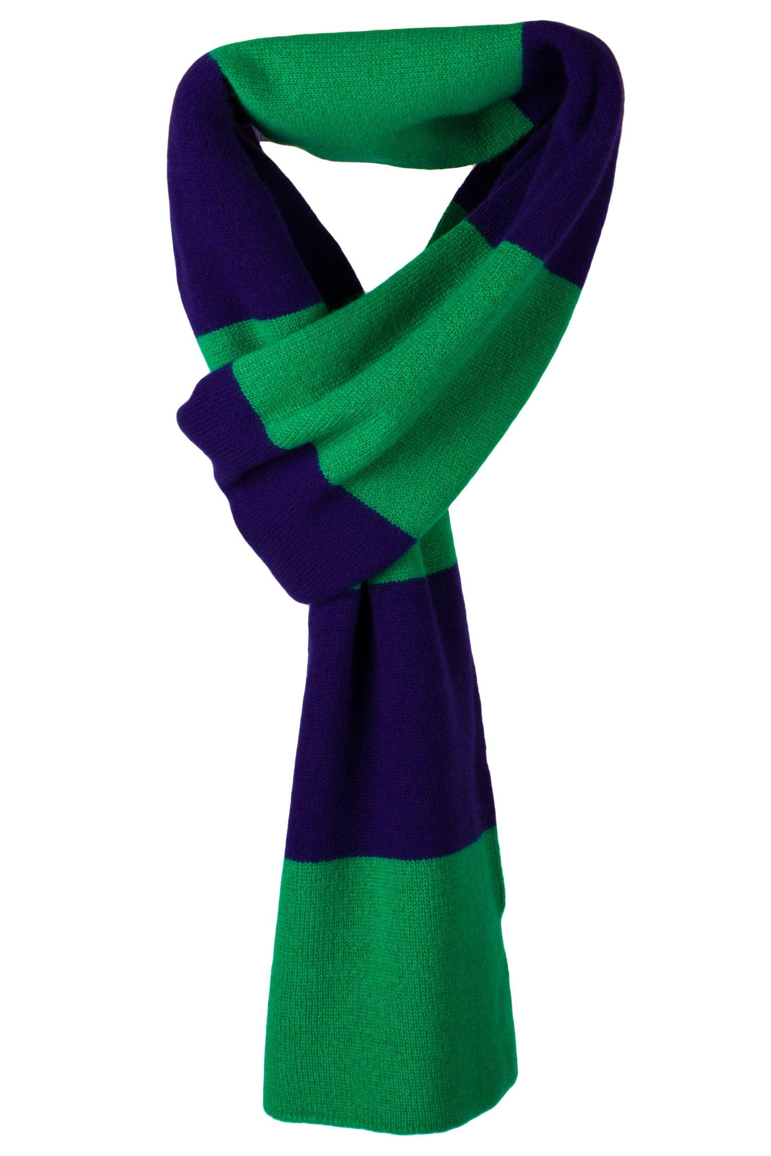 Mens Striped 100% Cashmere Scarf - Dark Blue / Green - hand made in Scotland by Love Cashmere