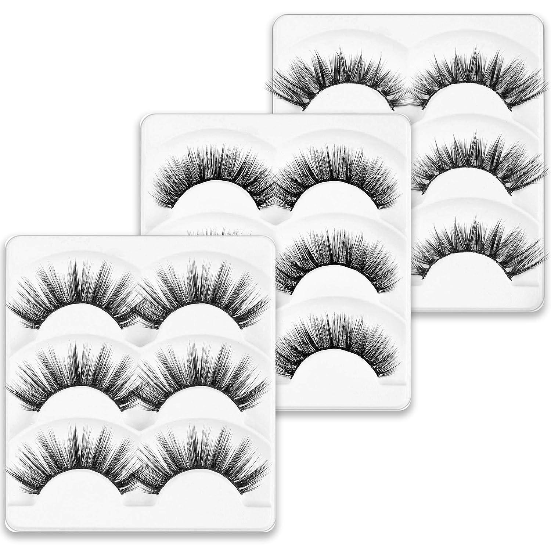 MUSELASH 3D 9 Pairs 3 styles set Natural False Lashes Faux wispies Mink False Eyelashes Soft Multi-pack Long Fluffy Dramatic Lashes Handmade