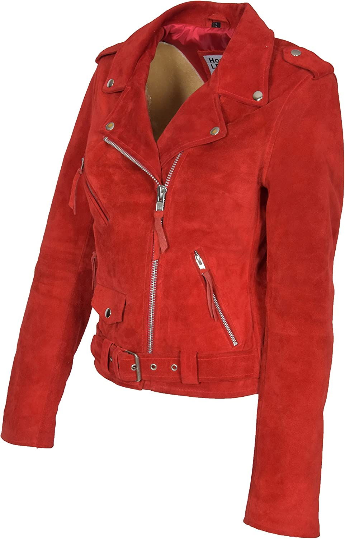 Femmes Véritable Daim Rouge Veste en Cuir De Motard Filles X