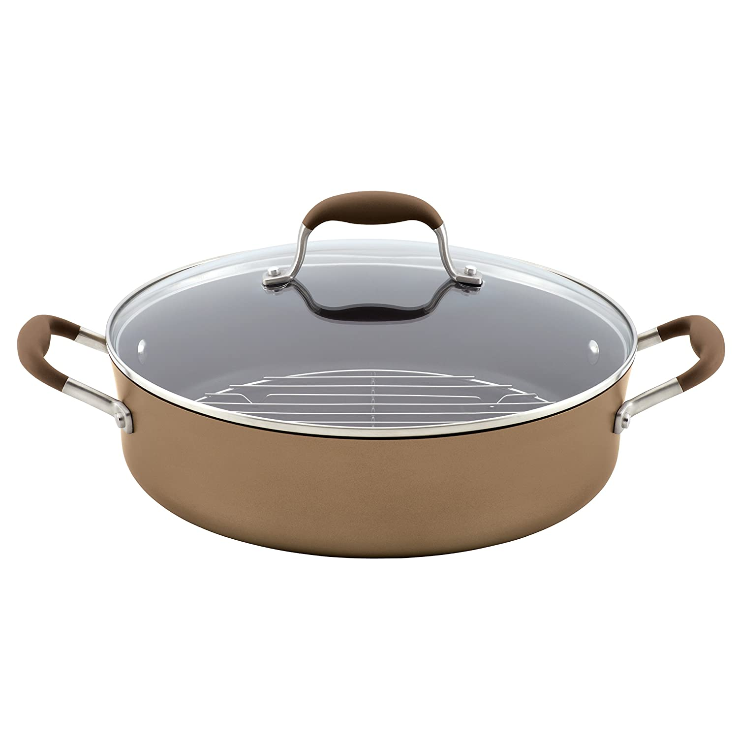 Anolon Advanced Bronze Hard Anodized Nonstick 5.5-Quart Covered Braiser with Rack Meyer 83490