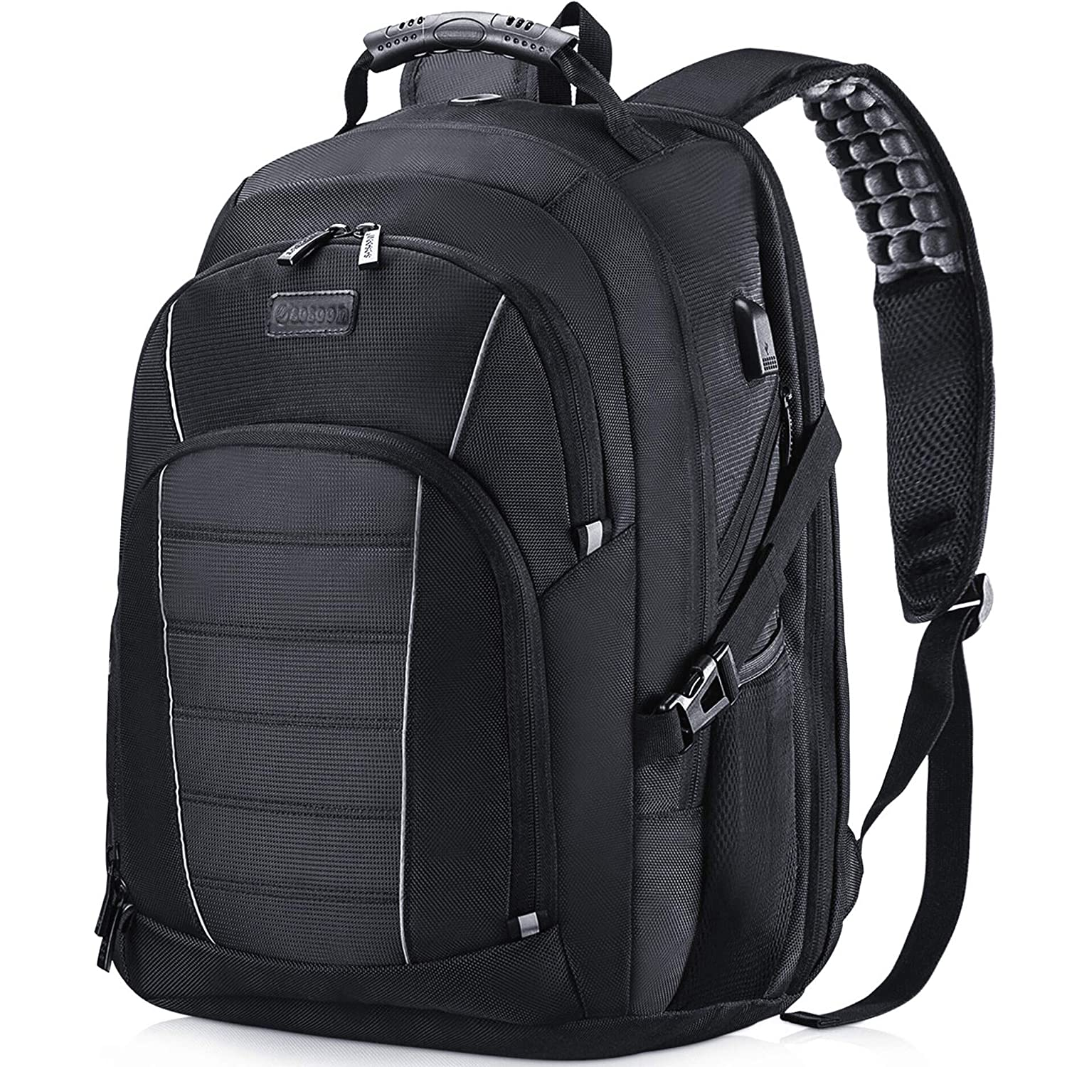 Black 15.6-17.3 Inch Water Resistant Large College//High School Bags for Boys//Men//Women Laptop Backpack Anti-Theft Business Travel Work Computer Rucksack with USB Charging Port
