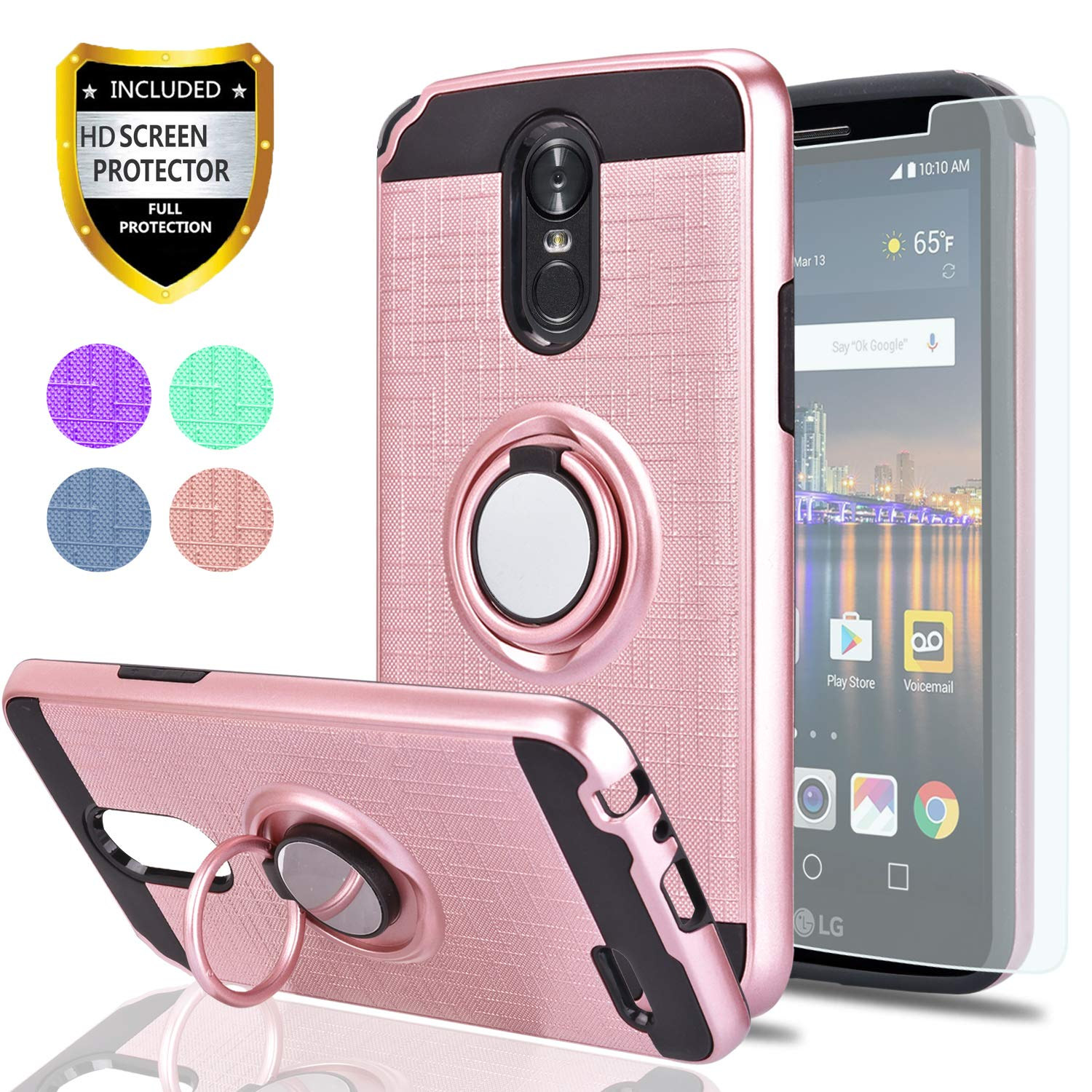 LG Stylo 3 / LG Stylus 3 / LG Stylo 3 Plus Case with HD Screen Protector,Ymhxcy 360 Degree Rotating Ring & Bracket Rubber Dual Layer Shock Bumper Resistant Back Cover for LS777-ZH Rose Gold