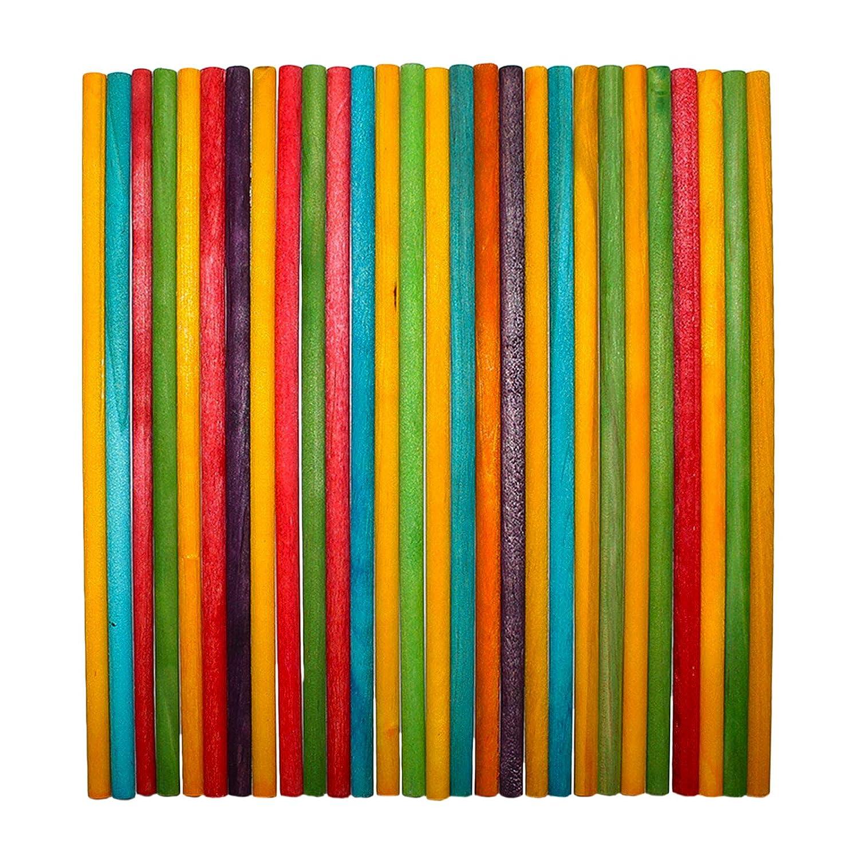 Kurtzy Pack 100 Piezas Varas de Madera de 20cm - Palitos para Piruleras Proyectos de Manualidades y Artes Bricolaje - Varas de Colores Variados Uso en El Hogar, Jardín, Boda, Suministro de Decoraciones