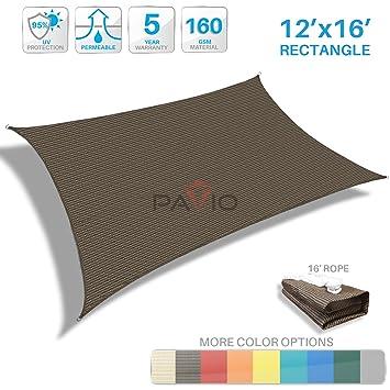 Patio Paradise 12u0027x16u0027 Brown Sun Shade Sail Rectangle Canopy   Permeable UV  Block