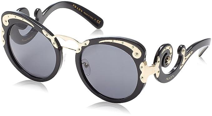 e2655cc70ae80 Prada Women s PR07TS-1AB1A1-54 Black Round Sunglasses  Prada  Amazon ...