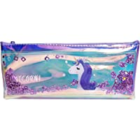 Samvardhan Unicorn Multipurpose Holographic Pencil Pouch/Case with Filled Sequin Water for Kids (Purple)