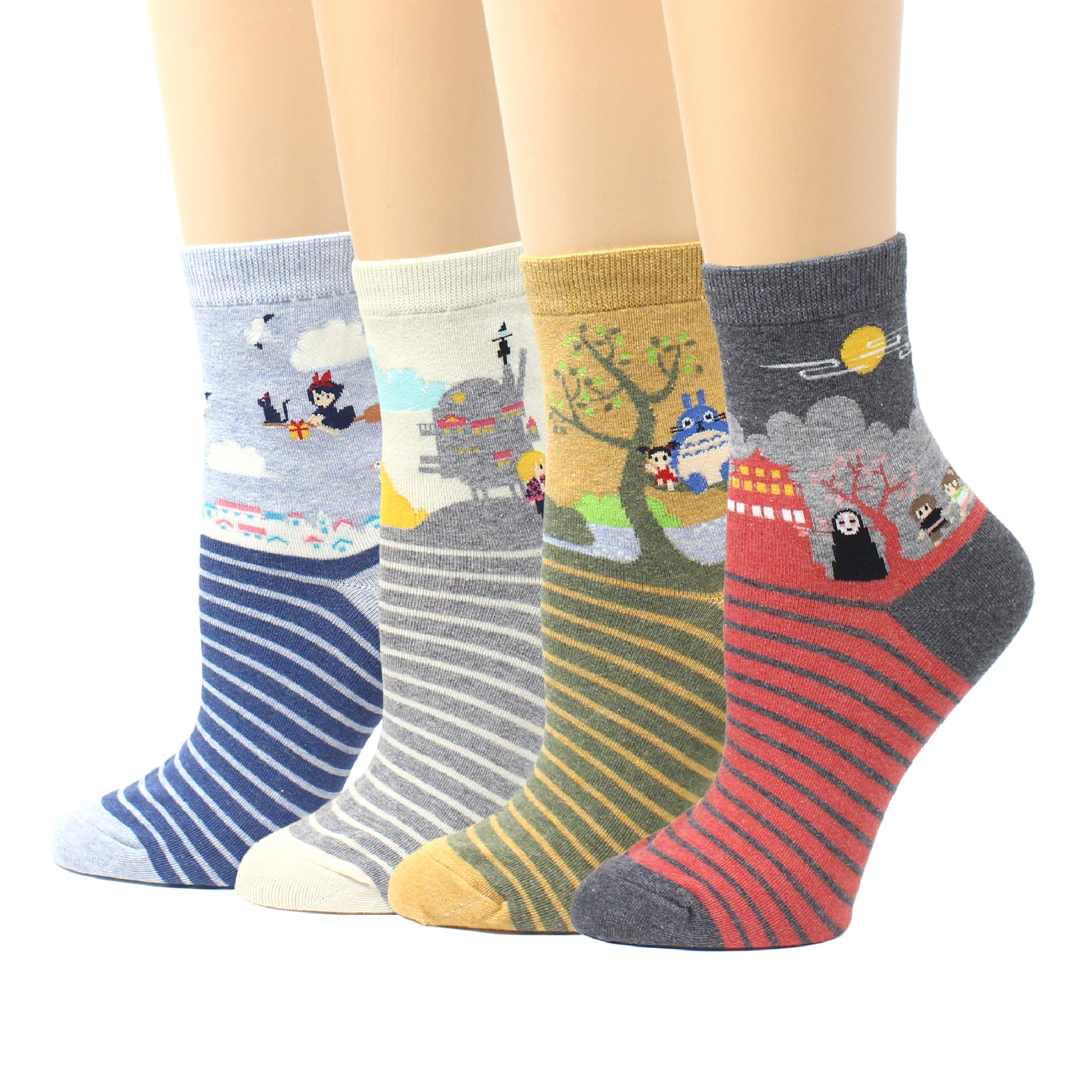 a79b8379e LIVEBEAR Women s 4 5 Pair Cute Large Print Funny Novelty Crew Socks Made In  Korea