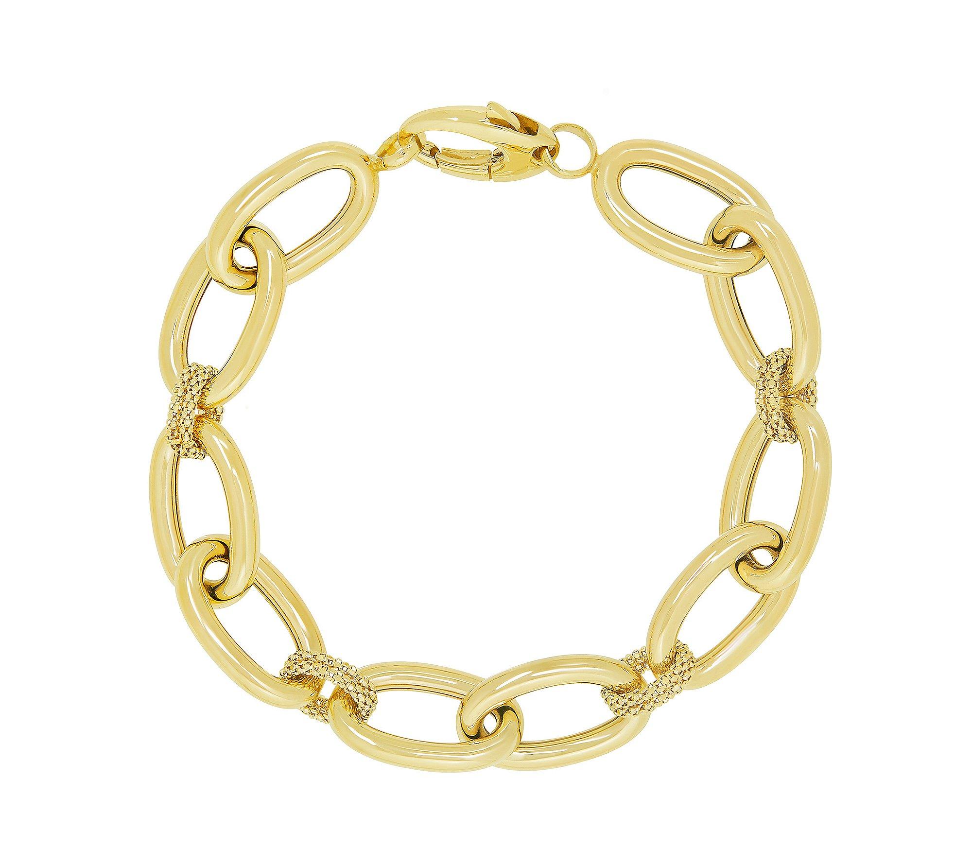 14K Yellow Gold Polished Oval Link Bracelet with Popcorn Stations Gold