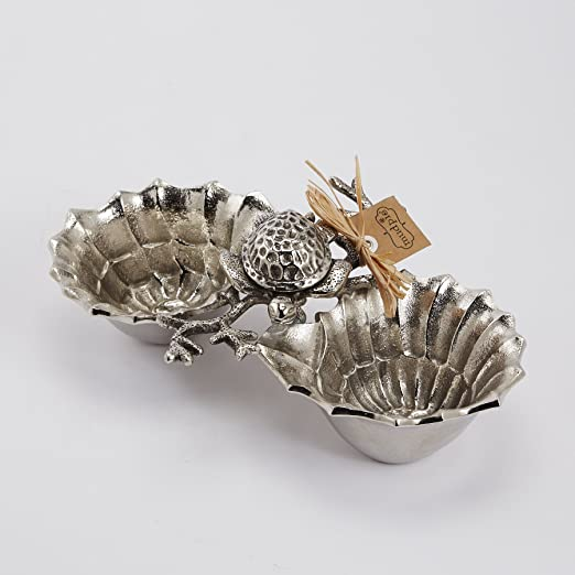 Christmas Tablescape Decor - Silver metal turtle shell double dip bowls by Mud Pie