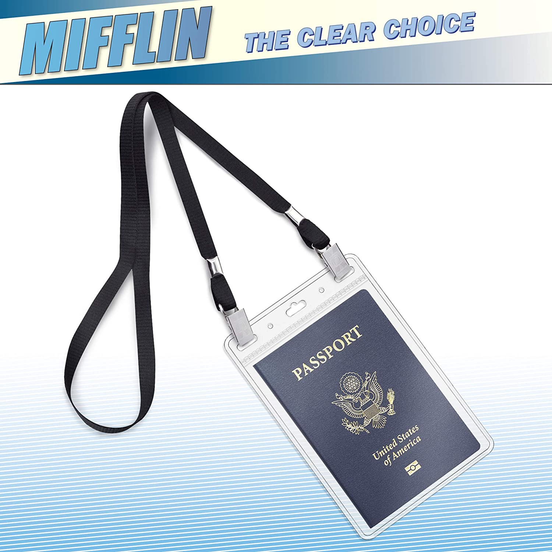 Clear, 152x108 mm, 50 Pack MIFFLIN Passport Holders Zipperless Vertical Plastic Card Holders Extra Large ID Name Badge Holder