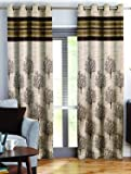 Story@Home Berry Blackout Combo Contemporary Pattern Set of 2 Piece Jacquard Door Curtains for Living Room and Bed Room - 7 Feet Long - Brown