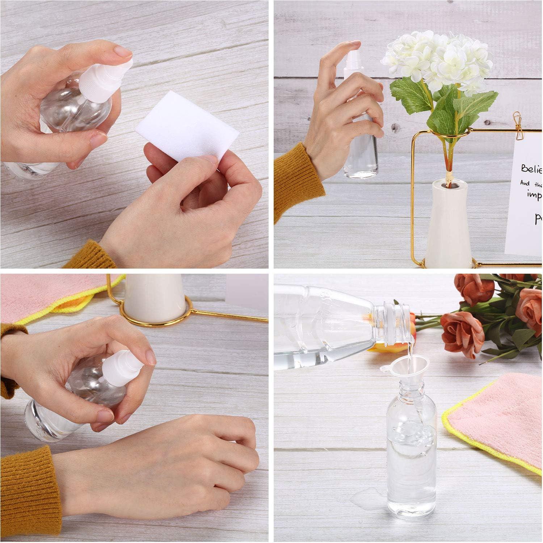 12 Paquetes Botellas de Spray de Niebla Fina Transparente de 100 ml Botellas Cosm/éticas de Spray de Pl/ástico Vac/ías 3,4 oz con 4 Piezas Mini Embudos para Viaje Maquillaje