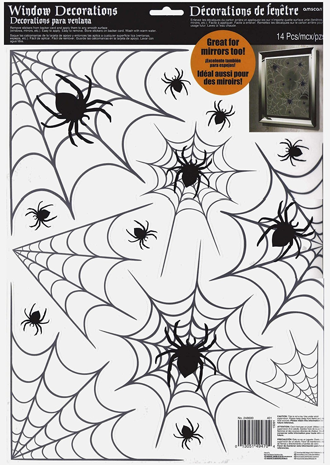Amscan Halloween Spiders and Webs Vinyl Window Clings | 28 Count | Great for Party, Interior, and Mirror Decorations