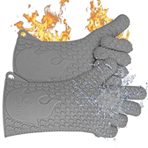 Jolly Green Products Ekogrips Premium BBQ Oven Gloves | Best Versatile Heat Resistant Grill Gloves | Insulated Silicone Oven Mitts for Grilling | Waterproof | Forearm Protection | Grey, OSFM