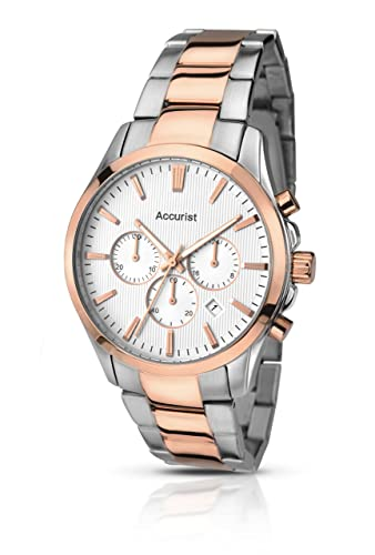 7b37afdff Accurist Men's Quartz Watch with Silver Dial Chronograph Display and Two  Tone Rose Gold Plated Stainless