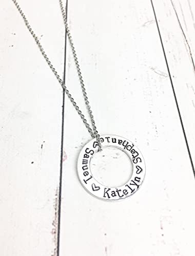 Amazon Com Eternity Ring Stamped Washer Necklace With Names Handmade