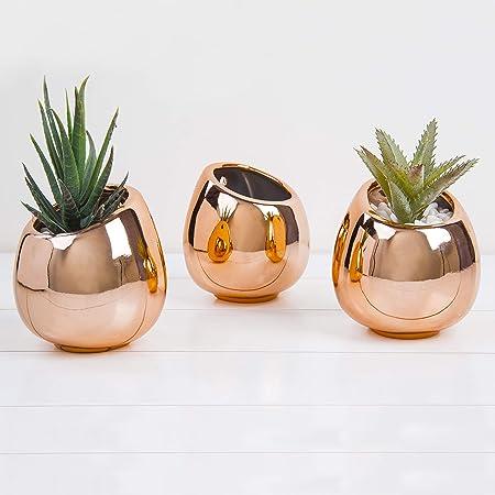 MyGift Set of 3 Desktop Faux Succulent Plants in Modern Rose Gold-Tone...
