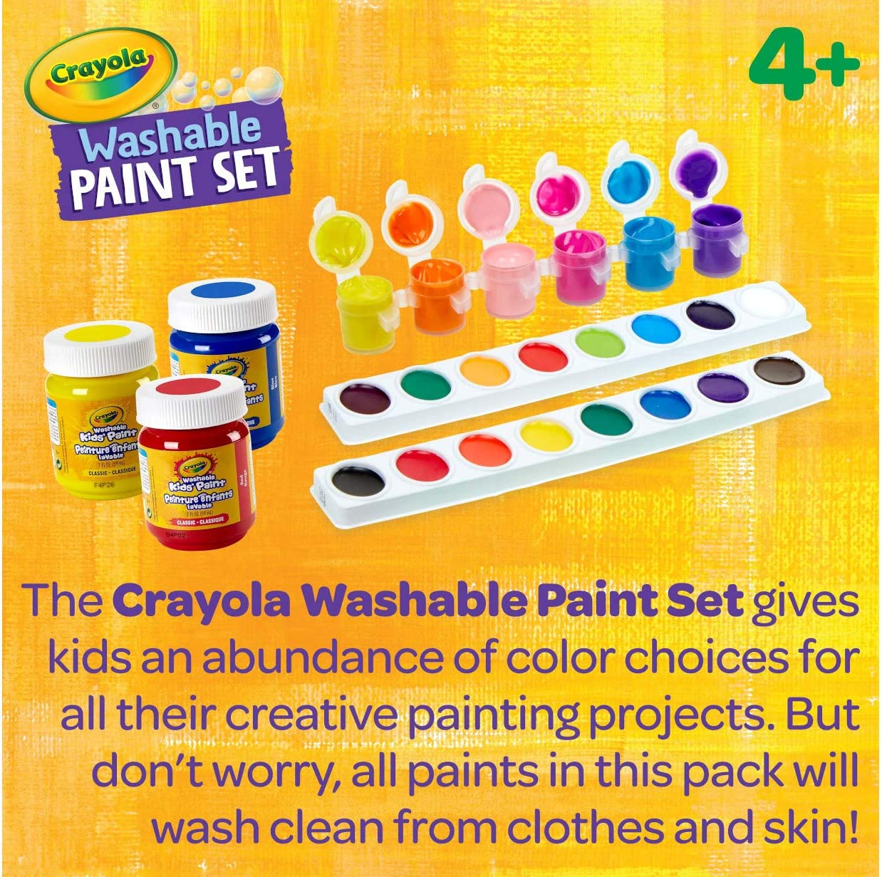 6 5 4 Crayola Washable Paint Set Over 50 Pieces 7 Gift for Kids