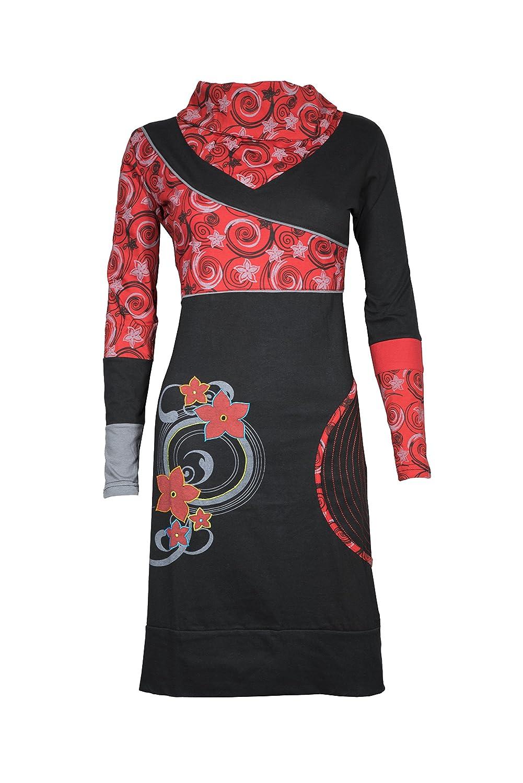Verspieltes feminines Langarm Kleid mit ausgefallenem Kragen und Ethno Muster - 100% Baumwolle - SIMMA (Rot)