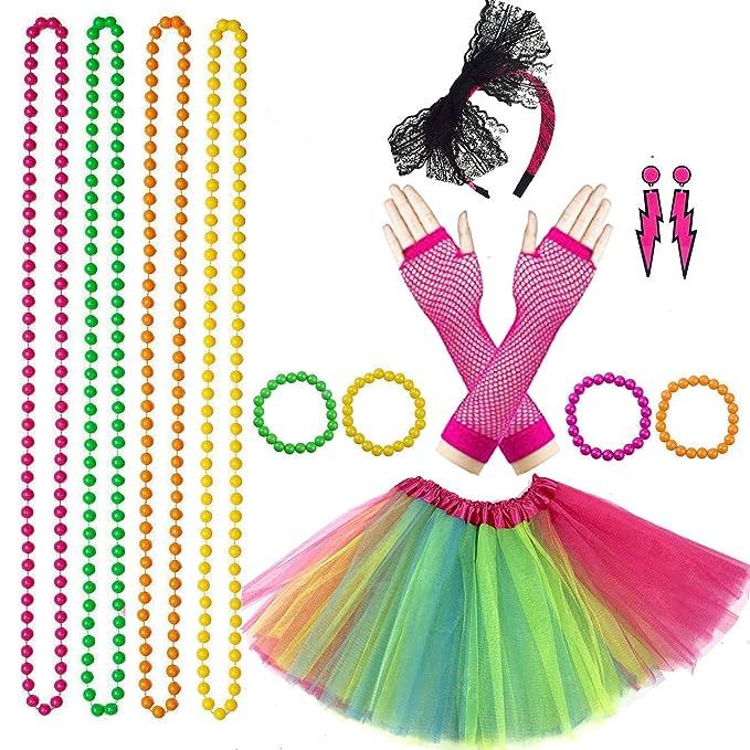 Neón party kit con falda tutú multicolor