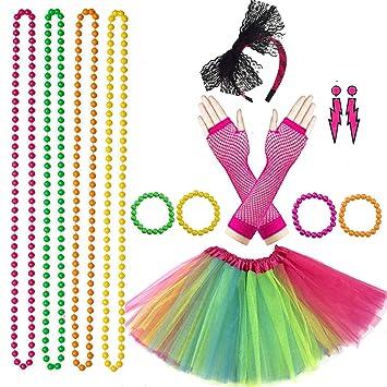 Lhasam 80s Accesorios de Disfraces de Disfraces Mujeres niñas 80 ...