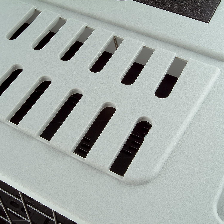 Compartimentos portaobjetos Rejillas de ventilaci/ón Alfombrilla de Drenaje incluida 82 x 51 x h 61 cm Gris Ferplast Transport/ín para Perros para autom/óvil Atlas Car 80