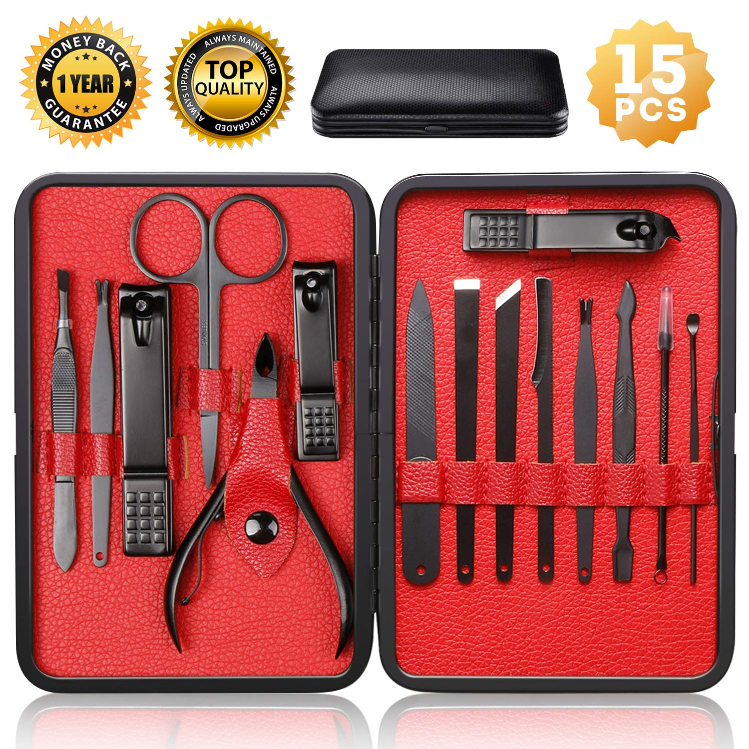 Nail Clippers Sets High Precisio Stainless Steel Nail Cutter Pedicure Kit Nail File Sharp Nail Scissors and Clipper Manicure Pedicure Kit Fingernails & Toenails with Portable stylish case (Black) by QLNE