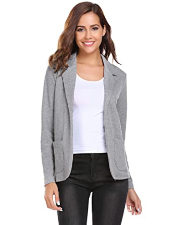 c55c0a0026 Zeagoo Women Long Sleeve Blazer Open Front Cardigan Jacket Work Office Suit  Outwear Grey S