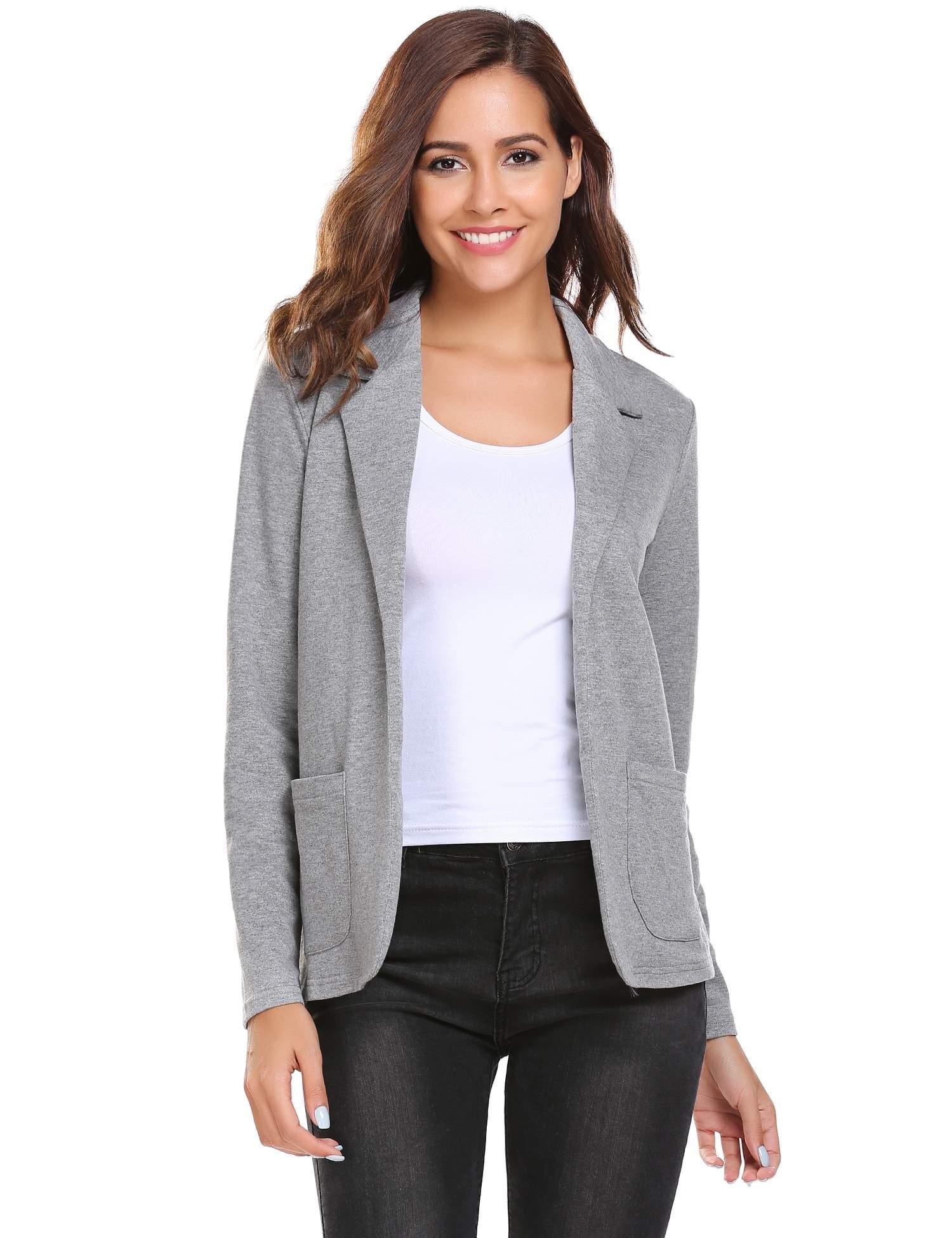 Zeagoo Women Casual Long Sleeve Blazer Open Front Cardigan Jacket Work Office Blazer Grey XL