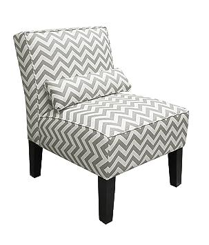 skyline furniture armless chair in zig zag grey amazon co uk