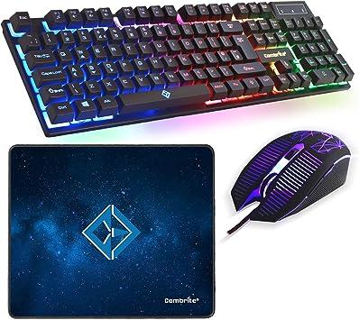 Combrite Raptor - Juego de Teclado y ratón para Juegos con Alfombrilla de ratón Grande, LED arcoíris con Cable USB, diseño de Reino Unido, para PC, ...
