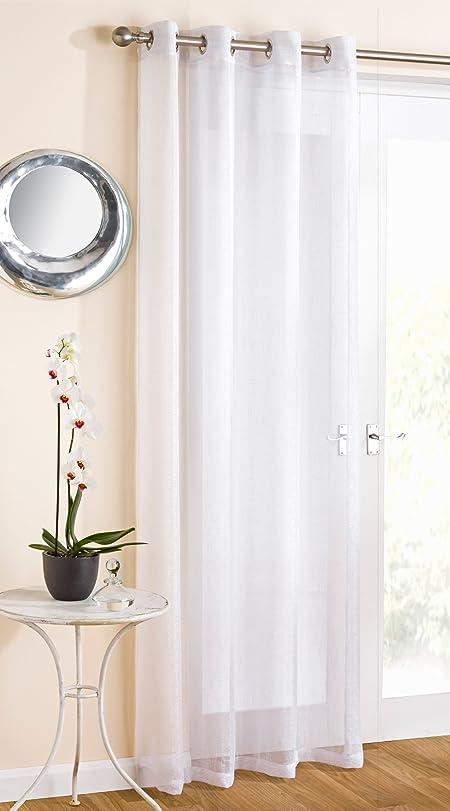 White Sparkle Voile Curtain Panel Eyelet Heading 54\