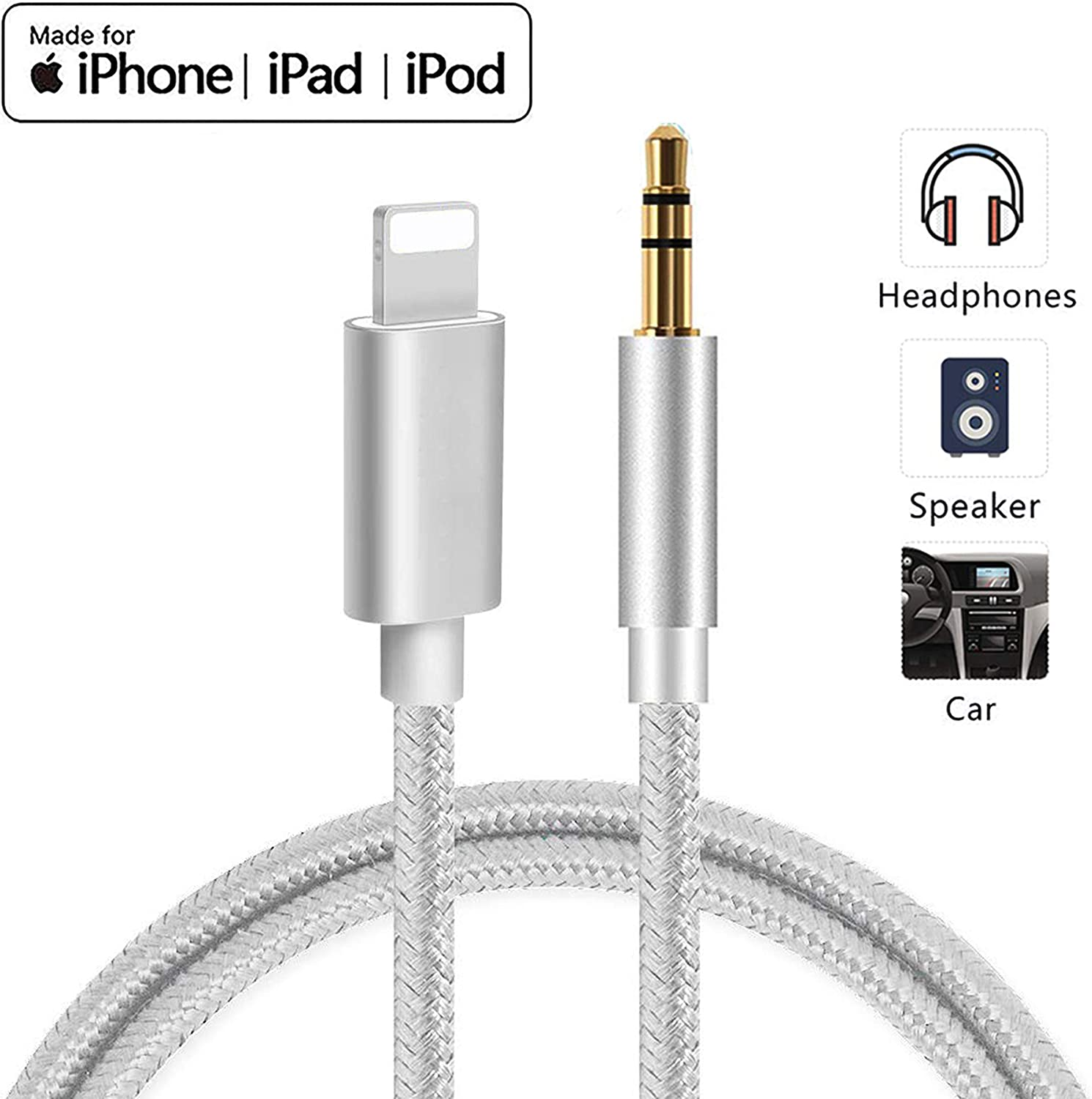 Aux Cable Cord for iPhone 3.5mm Aux Cable Compatible with iPhone 11 pro//XS//XR//X//8//7Plus Car Aux Audio Adapter Cable to Headphone//Home Stereo//Car Stereo//Speaker Support All iOS System 3.3Ft//1M-Silver
