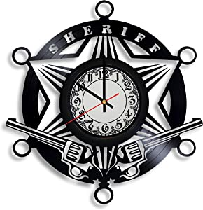 Krykavskyi Art Design County Sheriff's Department Gifts for Men Vinyl Wall Clock - Police Officer Decor, Police Daddy Police Party Decorations, Sheriff Department, Police Badge Sign Office Gift