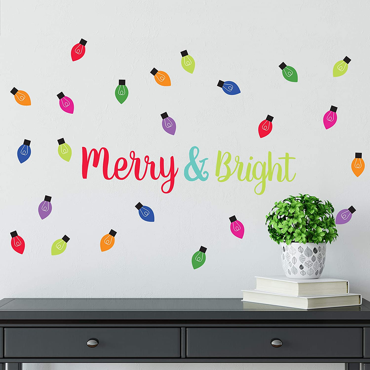 Christmas Wall Decal - Holiday Merry and Bright Peel and Stick Winter Wall Stickers